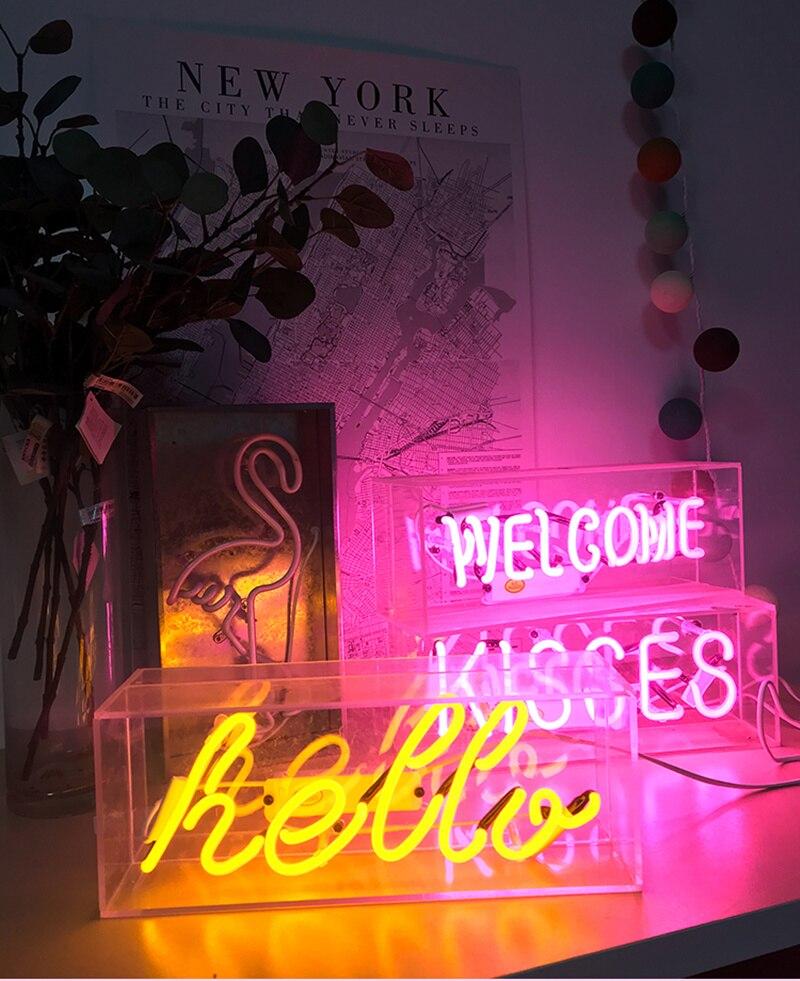 Купить с кэшбэком Led Neon Sign Light Neon Pub Holiday Xmas Party Wedding Decorations Table Night Lamp Home Wall Decor BAR Flamingo Neon Yellow