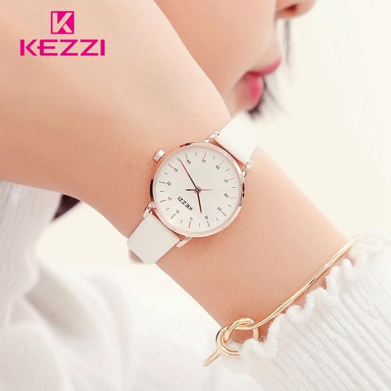 KEZZI Femmes Montres En Cuir De Mode Montre-Bracelet Relogio Feminino Montre Femme en Or Rose Quartz Montre de Dame Nouvelle montres mujer 2018