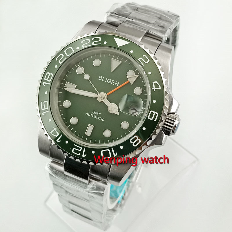 40mm Bliger Green Sterile Dial GMT Automatic Steel Case Green ceramic ring Luminous Men's Casual Wristwatch