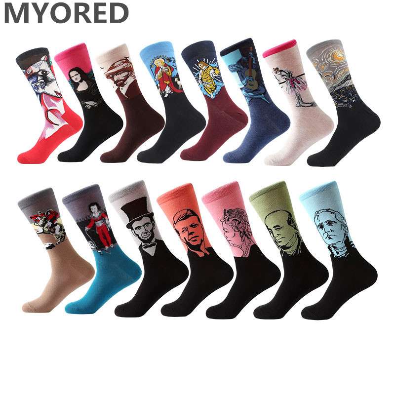 MYORED 1 Pair Van Gogh Oil Painting Series Men Socks Funny Socks  Retro Vintage Women Men Unisex Crew Socks Art Socks For Dress