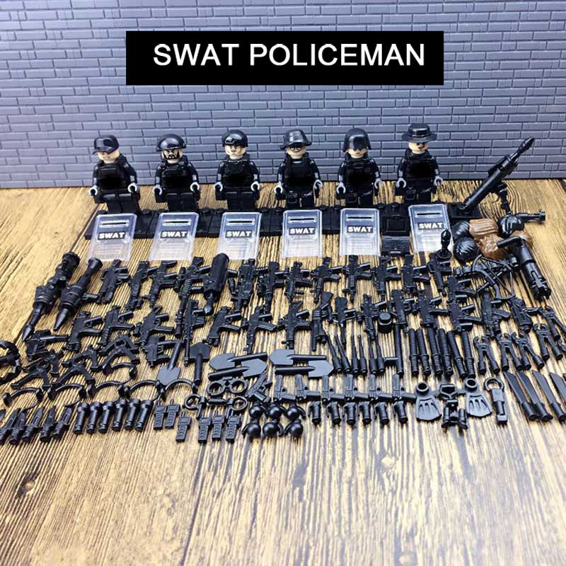 Newest Mini City SWAT Policeman Figures With Military Equipment Model Building Blocks Toys Police Policemen Bricks Toy For Boys 1712 city swat series military fighter policeman building bricks compatible lepin city toys for children