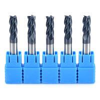 5pcs 4 Flute Tungsten Carbide End Mill HRC50 TIALN CNC Milling Cutter Set 6x50mm