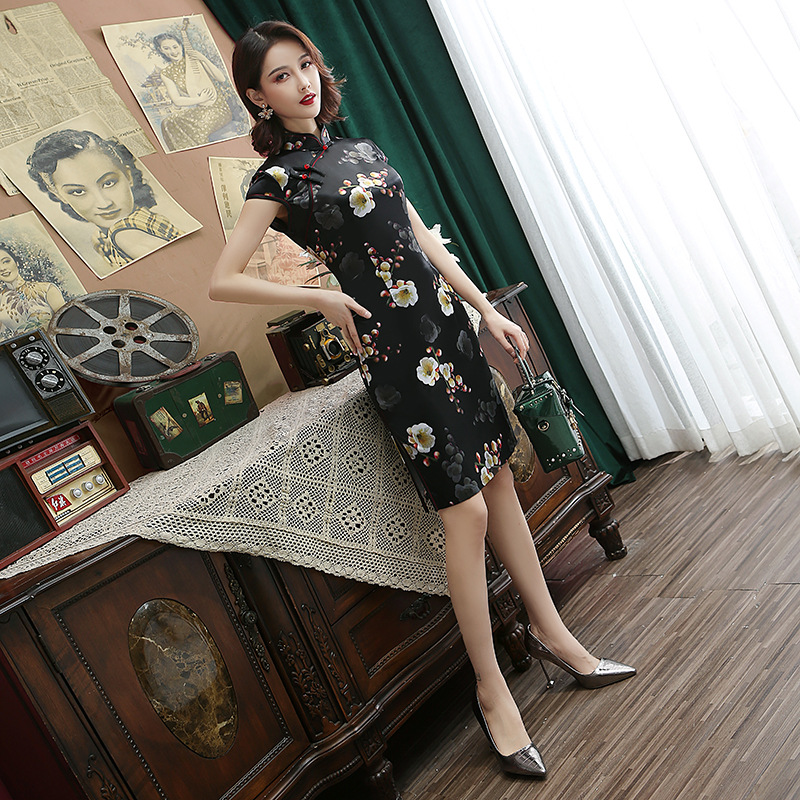 Black Sexy Rayon Qipao Vintage Flower Cheongsam Novelty Slim Print Flower Short Sleeve Chinese Cheongsam Dress Size S-3XL