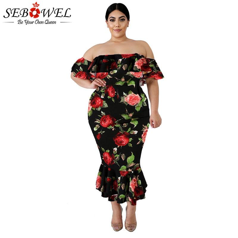 US $22.99 40% OFF SEBOWEL Floral Mermaid Plus Size Dresses Woman Summer  2019 Female Black/White Off the Shoulder Big Size Curve Midi Ruffles  Dress-in ...