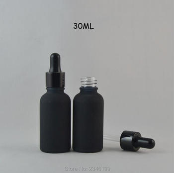 30ML 20pcs/lot DIY Top Grade Empty Cosmetic Containers, Frosted Black Glass Essential Oil Bottle, Elegant Empty Dropper Package