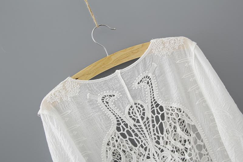 Hollow Out White Lace Blouse Kimono Summer 2019 Cotton Loose Woman Shirt Fashion Half Sleeve Kimono Cardigan Blouses Women 1806 6