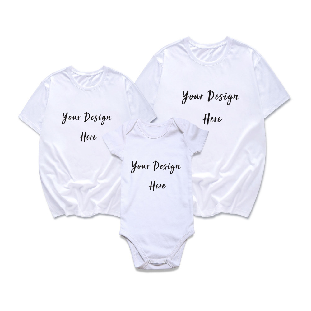 Family Matching Outfits Customized Your Own Design Father Mother And Son Daughter Summer T-shirt For Adult And Baby Bodysuit Mother & Kids