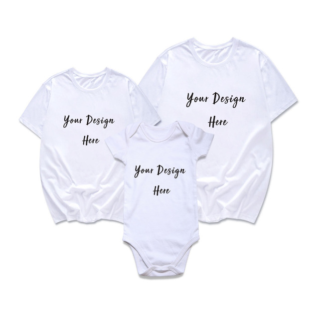 c3c0127a Family Matching Outfits Customized Your Own Design Father Mother And Son  Daughter Summer T-shirt for Adult and Baby Bodysuit