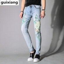2017 новый стиль джинсы мужские вскользь вышитые джинсы Мужчины высокого качества печати джинсы мужские брюки