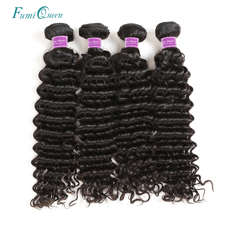 Ali Fumi Queen Hair Deep Wave Brazilian Virgin Hair 100% Weave Human Hair Bundles Unprocessed Hair Weft Natural Color 4Pcs Lot