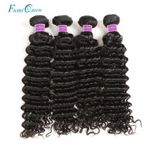 Ali Fumi Queen Hair Deep Wave Brazilian Virgin Hair 100% Weave Human Hair Bundles Unprocessed Hair Weft Natural Color 4Pcs Lot(China)