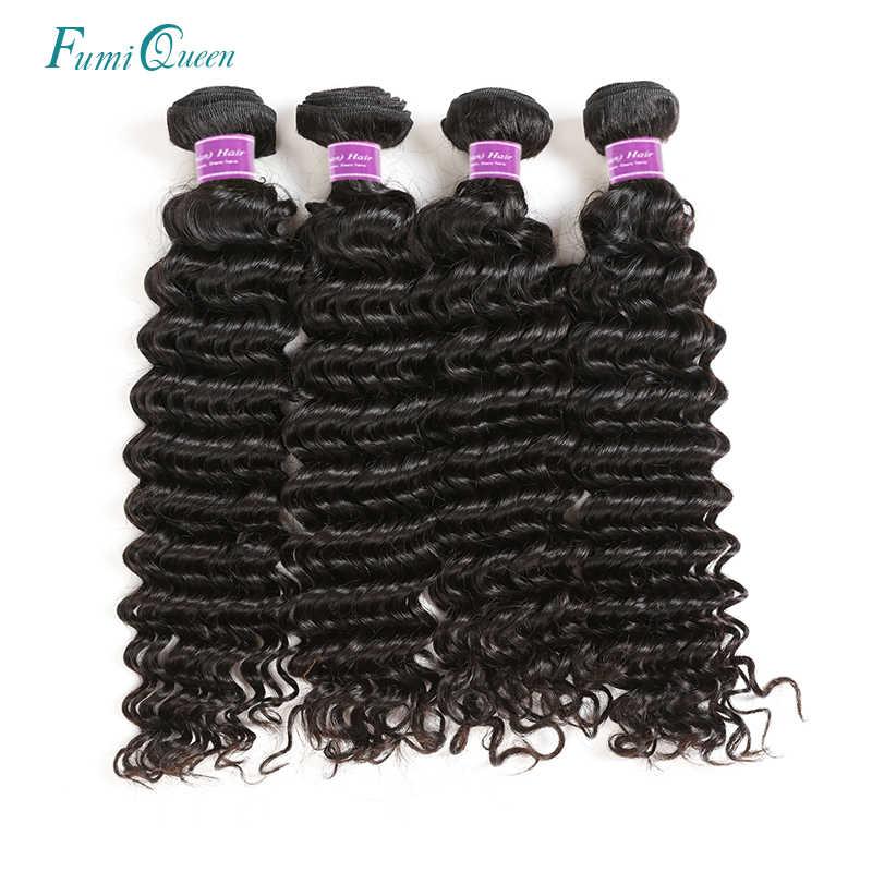 Ali Fumi queen волосы глубокая волна бразильские виргинские волосы 100% плетение человеческих волос пучки парики с натуральными волосами натурального цвета 4 шт в партии