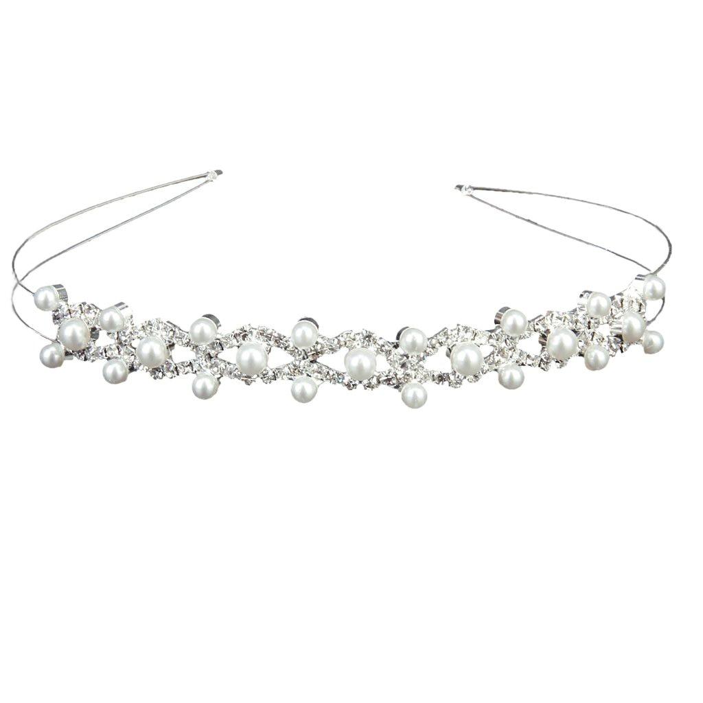 10xWedding Party Bridal Bridesmaid Flower Girl Double Faux Pearl Crown Headband Tiara