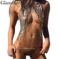 Glamaker Sexy halter shiny tank top women Paillette tassels strap crop top  Autumn crystal backless short camisole party club 1bb8bd41f039