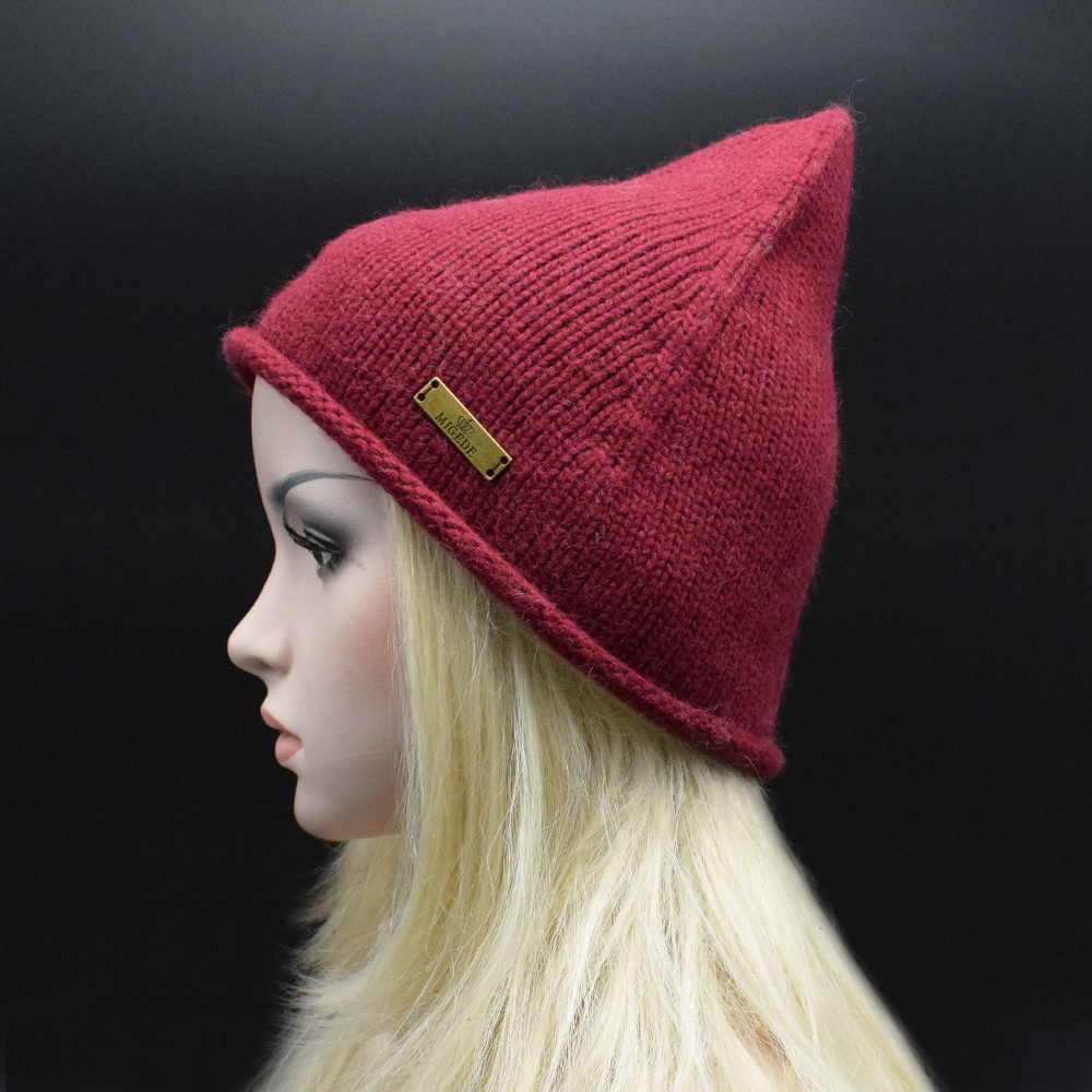 2017 Fashion Brand Winter High Quality wool Beanie Hat Knitted Pointy Hat For Women Ladies solid