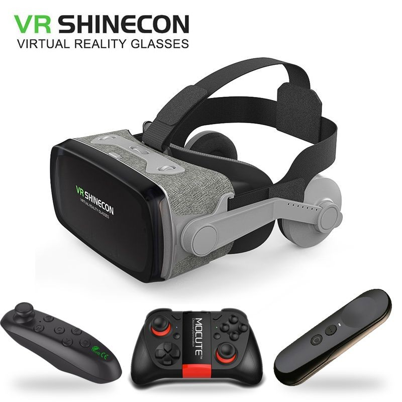2019 Google Cardboard VR shinecon 9.0 Pro Version VR Virtual Reality 3D Glasses +Smart Bluetooth Wireless Remote Control Gamepad
