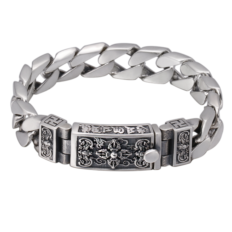 925 Sterling Silver Chinese Style Vintage Bracelet for men personality Om mani padme hum Jin Gangchu Buckle Silver Chain