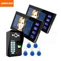 """Touch Key 7"""" LCD  Video Door Phone Intercom Doorbell System Fingerprint Access Control Door bell Doorphone Home Security 1V2"""