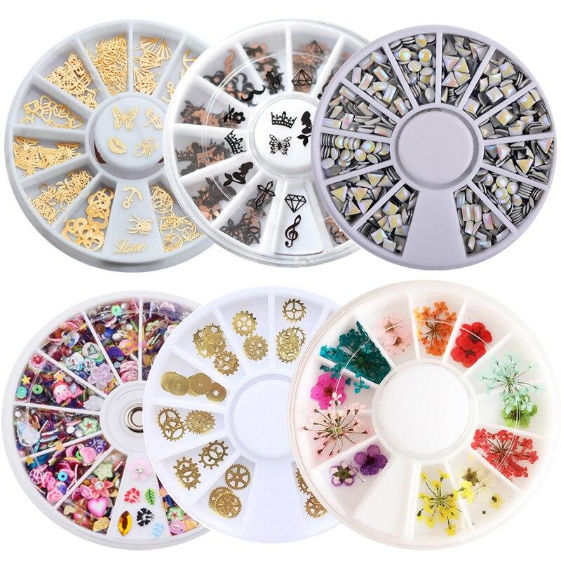 все цены на 1 Box Metal Nail Art Sticker Polymer Clay Tiny Fimo Acrylic Bow Laser Sequins Dry Flowers Accessories Nail Decoration Wheel онлайн