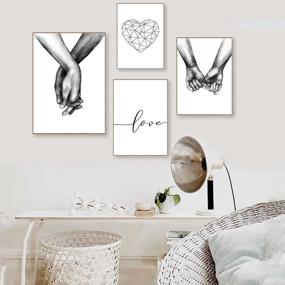 Love Poster Minimalist Black And White Wall Art Canvas Painting Poster Nordic Hand Painting Poster Wall Pictures For Living Room