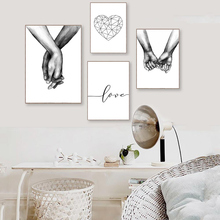 Love Poster Minimalist Black And White Wall Art Canvas Painting Nordic Hand Pictures For Living Room