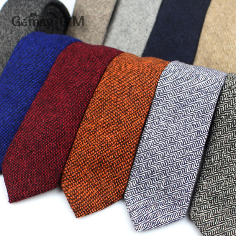 New Solid Wool Ties For Men High Quality Brand Narrow Slim Suits Neckties Blue 6cm Mens Neck Tie For Wedding Cravats