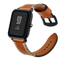 20mm Watch Band For AMAZFIT Xiaomi Wacth Strap Retro Style Genuine Leather Wriststrap For Huami Watch Replacement Bracelet