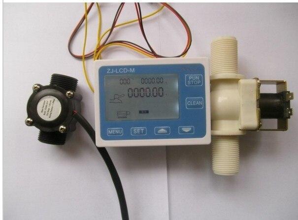 NUOVO 3/4 Controllo del Flusso di Acqua Meter LCD + Sensore di Flusso + Solenoide valvolaNUOVO 3/4 Controllo del Flusso di Acqua Meter LCD + Sensore di Flusso + Solenoide valvola