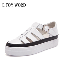 E TOY WORD Thick bottom Sandals Split Leather Summer Shoes  Woman Hollow out flat shoes Ladies Casual Soft bottom Beach Sandals prova perfetto sheepskin thick bottomed summer sandals women retro style hollow out buckle strap casual shoes romen flat sandals