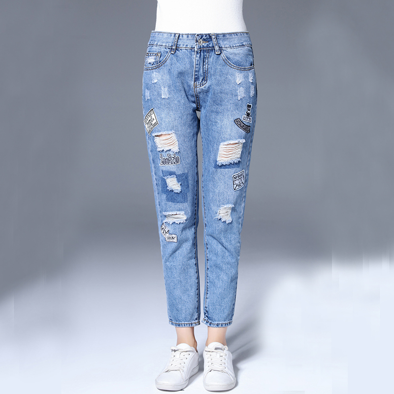 ФОТО Classic Hollow-out Ankle-length Women Jeans, Street Fashion Patchwork Ripped Blue Jeans
