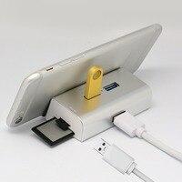 3 포트 USB 3.0 허브 SD/TF OTG 카드 리더 메모리 Cardreader 휴대 브라켓 스탠드 PC 전화 노트북 마우스 키보