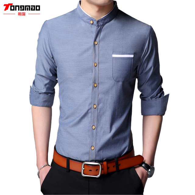 27242e4f 2017 Spring and Summer New Casual Men's Long-Sleeved Single-breasted Chinese  Stand Collar Solid Color Wild Slim Thin Men's Shirt