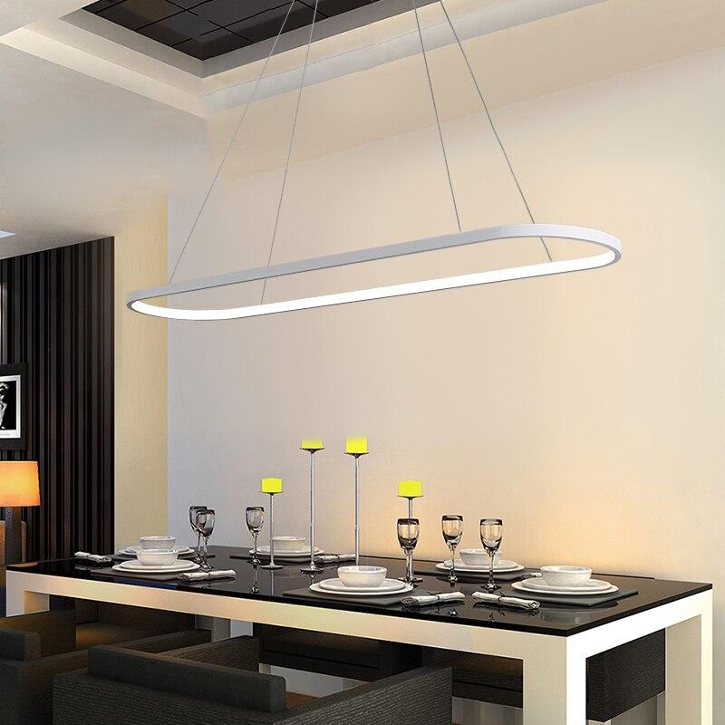 BlackWhite Modern Led Chandelier For Dining Room Bar Kitchen Room - Oval kitchen light fixtures