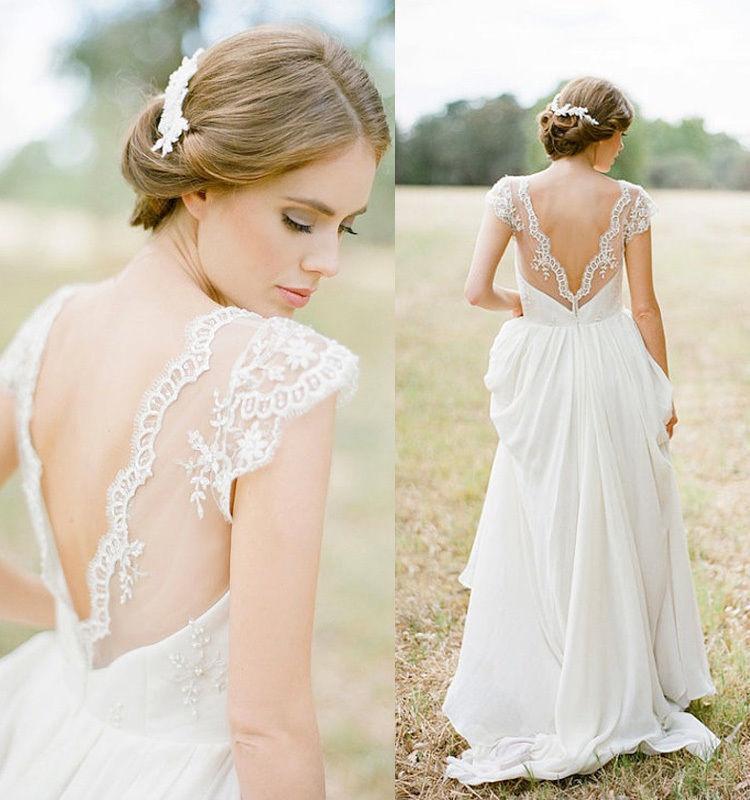 Aliexpresscom Buy 2017 Sheer V neck Lace Beach Wedding Dresses
