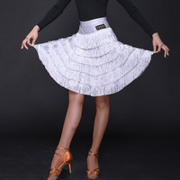 Latin Dance Skirt Women Six Layer Tassel Skirts Rumba Cha Cha Samba Tango Dancing Clothes Adult Practice Show Wear Ladies DN3621
