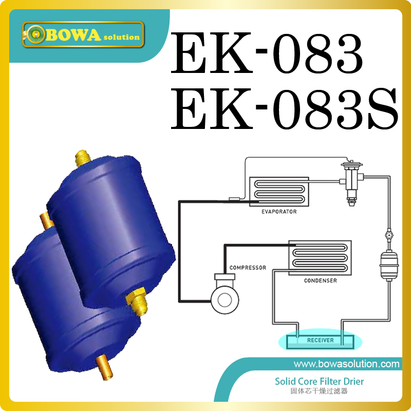 EK083 solid core filter driers are installed in air source heat pump water heater and replace Carly filter driers 60l liquid refrigerant tank with valve installed in heat pump water heater for swimming pool