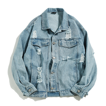 2019 New Denim Jacket Men's Hip Hop Men's Retro Denim Jacket Street Casual Bomber Jacket Harajuku Fashion Coat