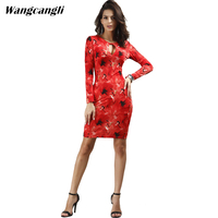 Wangcangli Europe And America Fashion New Style Print Red Flowers V Neck Pencil Tight Waist Dress