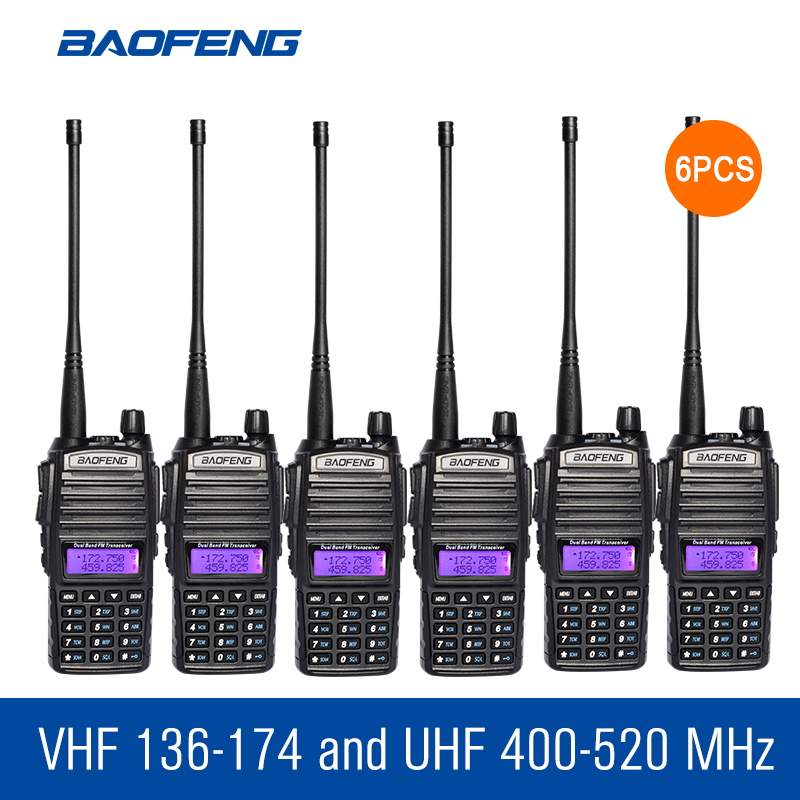 6pcs Baofeng UV 82 Dual Band Walkie Talkie VHF UHF 136 174MHZ 400 520MHZ Frequency Portable