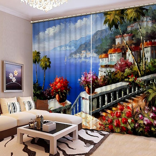 Noenname Null Sea Paintings Curtains Printing High Definition Lifelike Bedroom Living Room Cl 057 In From Home Garden