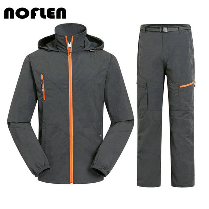 Camping Hiking Clothing Outdoor Sport Men Summer Sun UV Protection Hooded Jacket Set Quick Dry Breathable Women Sportswear Suit стоимость