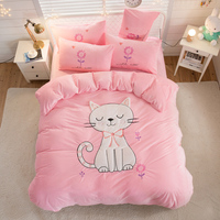 Pink Fleece fabric luxury Bedding Set twin queen king size bed set Bedsheets linen cute cat Duvet cover set