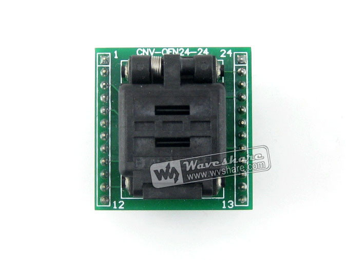 Wavesahre QFN24 TO DIP24 (B) Plastronics IC Test Socket Programmer Adapter 0.5mm Pitch for QFN24 MLF24 MLP24 Package fshh qfn24 to dip24 programmer adapter wson24 udfn24 mlf24 ic test socket size 8mmx6mm pin pitch 0 8mm