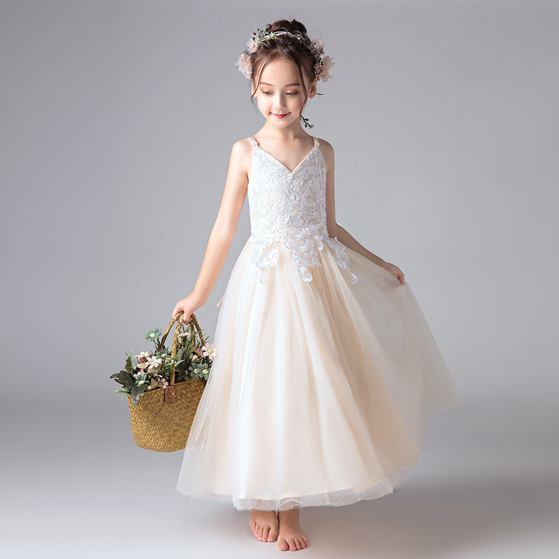 Light Champagne V-neck Spaghetti Straps Long A-line   Flower     Girl     Dresses   For Wedding With Bow   Girls   Special Occasion   Dresses