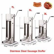 Нержавеющая сталь 3л колбасный шприц наполнитель Руководство Вертикальная машина для наполнения колбасы кухня испанские Чуррос(печенье) Производитель