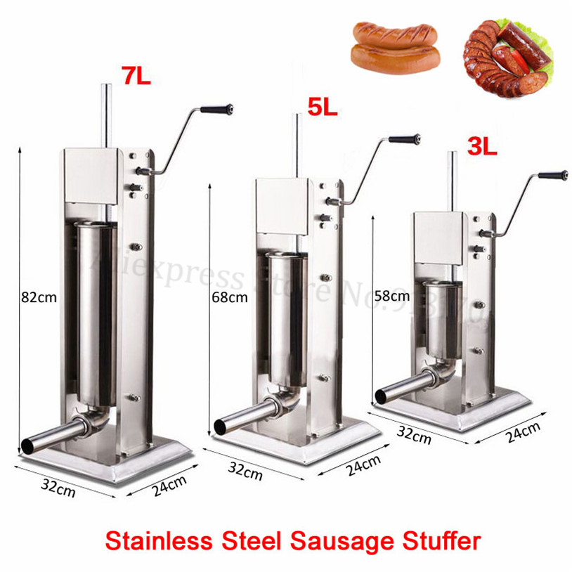 Stainless Steel 3L Sausage Stuffer Filler Manual Vertical Sausage Filling Machine Kitchen Spanish Churros Maker stainless steel vertical commercial horizontal sausage stuffer filler machine manual 3l enema machine sausage filler