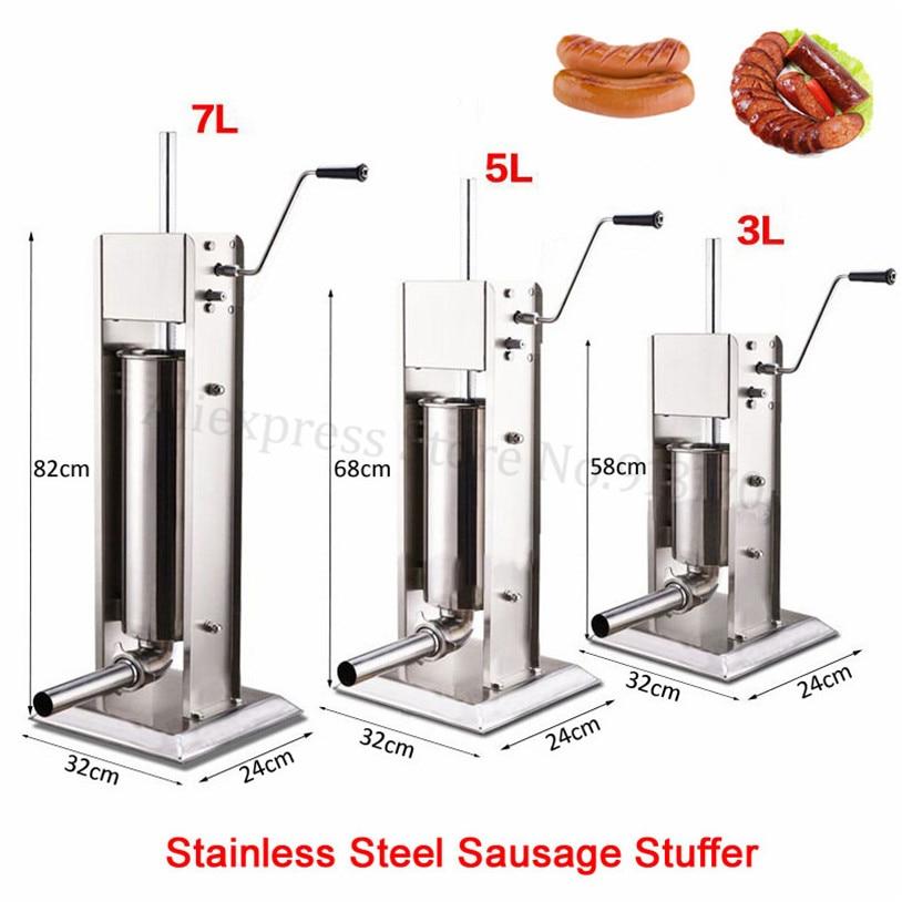 Stainless Steel 3L Sausage Stuffer Filler Manual Vertical Sausage Filling Machine Kitchen Spanish Churros Maker