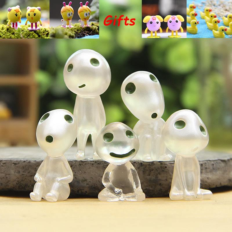 5pcs/lot Princess Mononoke luminous tree elves gardening potted decoration Micro Landscape accessories  Action  toy Figures