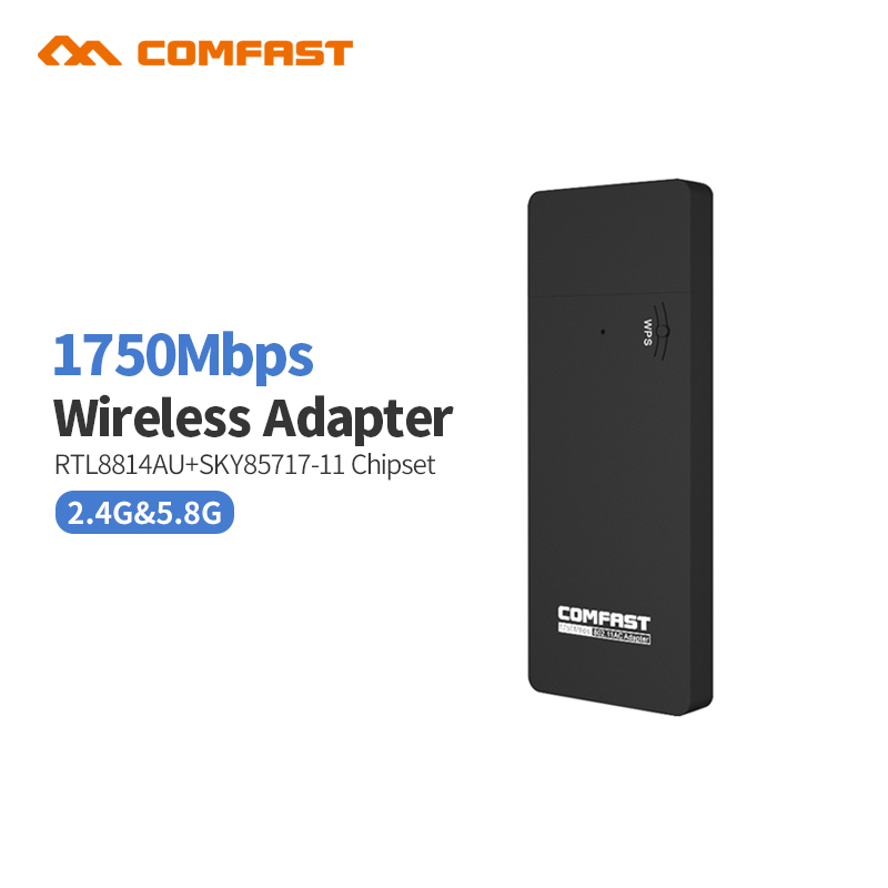 Dual Band 1750Mbps USB Wifi Wireless Adapter Realtek RTL8814AU Wi-fi Receiver Network Card 2.4GHz 5GHz USB 3.0 Antenna Comfast comfast cf wu881nl usb 2 0 network card w external 5dbi antenna black