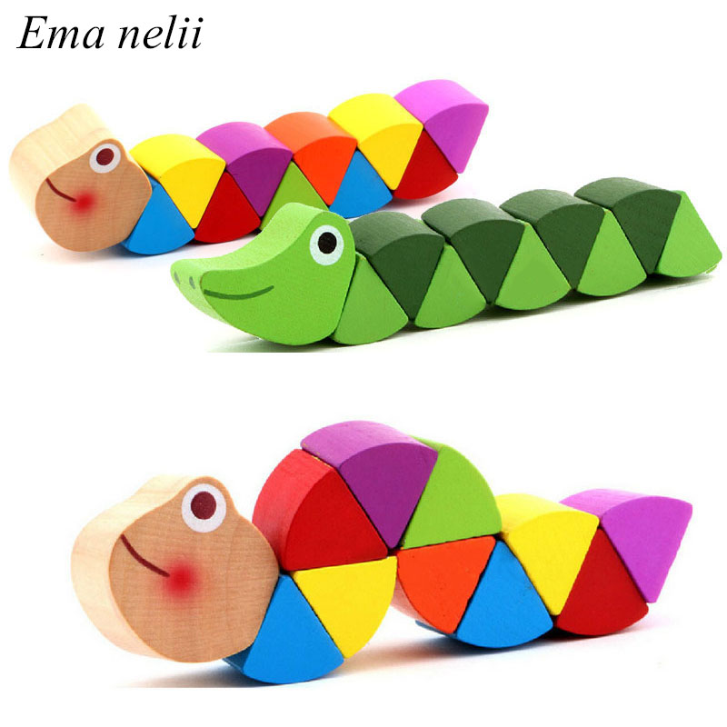 Baby Wooden Toy Ever-changing Colored Caterpillar Finger Animal Doll Twisted Worm Kids Educational Puzzle Toys For Children Gift